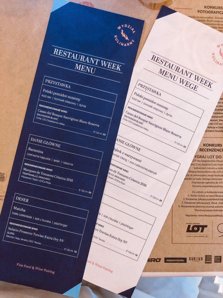 Wydział Kulinarny Wrocław menu Restaurant Week